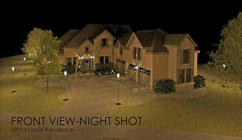 rendered night view of residence